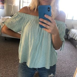 Light blue strapless top